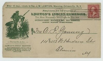 Mr Fancy Cancel 2c ILLUSTRATED AD COVER LAWTON'S INDIAN REMEDIES INDIAN ON HORSE