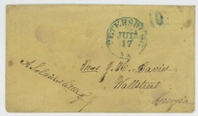Mr Fancy Cancel CSA STAMPLESS COVER PETERSBURG VA 10 SOLDIER LETTER EX-KAUFMANN