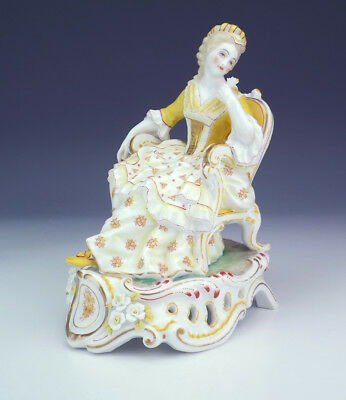 Antique Berlin Porcelain - Hand Painted Flower Encrusted Lady Figure - Early!