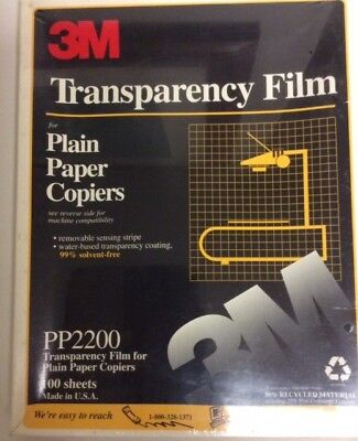 "NEW 3M Transparency Film For Copiers 100 Sheets 8.5"" x 11"" PP2200   V-2"
