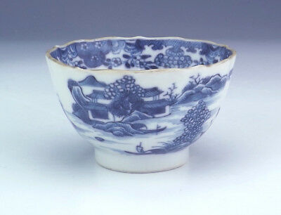 Antique Chinese Blue & White Oriental Scene Tea Bowl - Chipped But Lovely!