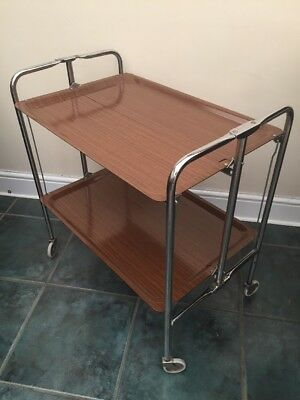 Vintage Retro Folding Chrome Wood Effect Formica Drink Tea Serving Trolley