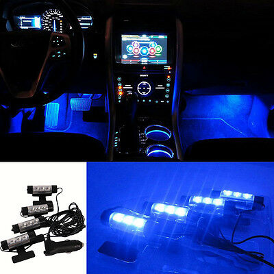 4pcs Blue Charge 4 in1 3LED Car Interior Floor Atmosphere Decorative Light Lamp
