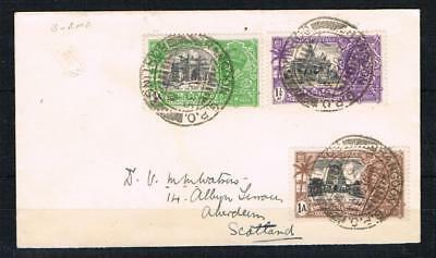 india 1935 silver jubilee values used in burma on a cover to scotland