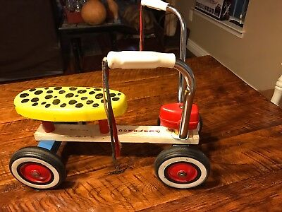 Vintage 1960s Playskool Tyke Bike Ride On Wooden Scooter Riding Toy