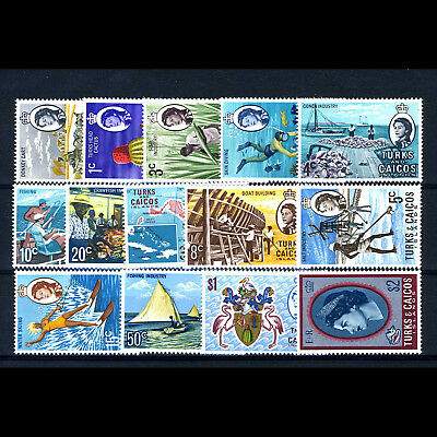TURKS & CAICOS 1971 Set of 14 Values. SG 333-346. Mint Never Hinged. (AB025)