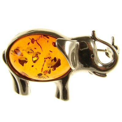 Gift Boxed Baltic Amber Sterling Silver 925 Elephant Brooch Pin Jewellery
