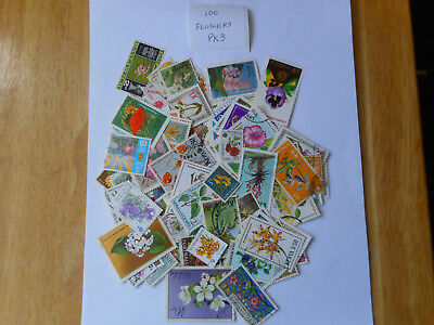 100 used postage stamps FLOWERS pk 3 no doubles