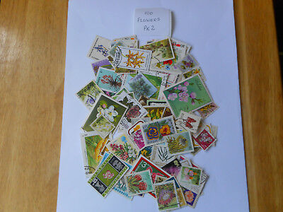 100 used postage stamps FLOWERS pk 2  no doubles