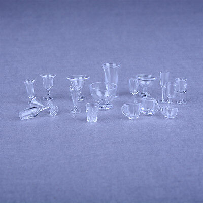 17pcs Dollhouse Miniature Ice Cream Cups Set Toy Kitchen Dining-Room Clear LCC