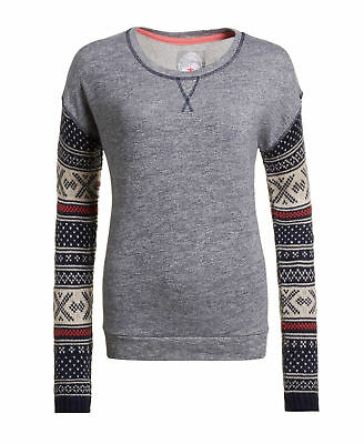 New Womens Superdry Unique Sample Sunscorched Crew Size Large Dark Navy Marl