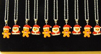 Wholesale Jewellery Joblot 10 Necklaces, Fimo Christmas Pendant.gift, Party Bags