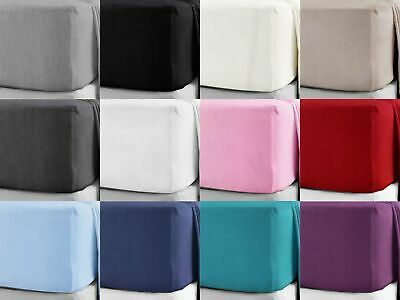 """100% Brushed Cotton Flannelette 40CM/16"""" Extra Deep Fitted Sheets in 12 Colours"""