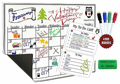 "Monthly Planner Magnetic Calendar For Refrigerator Dry Erase Board 16"" X 12"" Set"