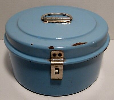 Antique FRENCH BLUE Enamel GRANITEWARE Large Round Hinged Lunch Pail w/ Handle