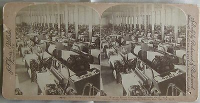 Southern Cotton Mill Weaving Room Augusta Georgia U.S.A. J  F Jarvis Stereoview