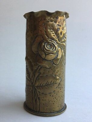 Trench Art WWI-1916 Brass Artillery Shell Casing Vase Rose And Rosebud Design