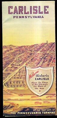 "1940 Carlisle,PA ""Gateway to the West"" East Gate of PA Turnpike Travel Brochure"