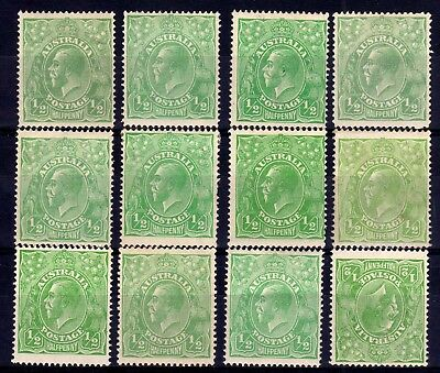AUSTRALIA KGV HEADS MINT LOT A: 1914-20 ½d SHADES, 12 STAMPS