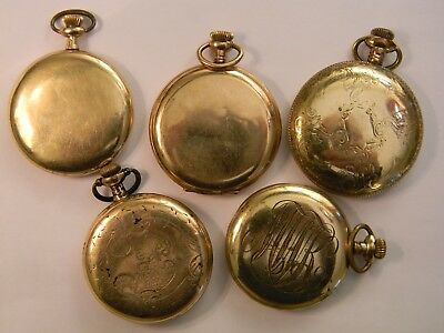 5 Vintage 20/10 Year Gold Filled Pocket Watch Cases All Marked - Scrap Recovery