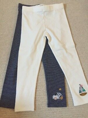 New Next Set Of 2 Sailing Leggings White And Navy 4-5 Years