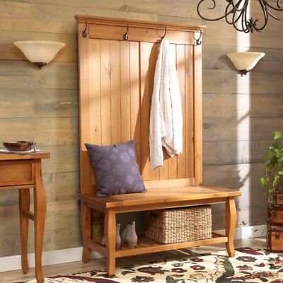 Modern Hall Tree Entryway Coat Rack Seat Shelf Shoe Organizer Wood Furniture