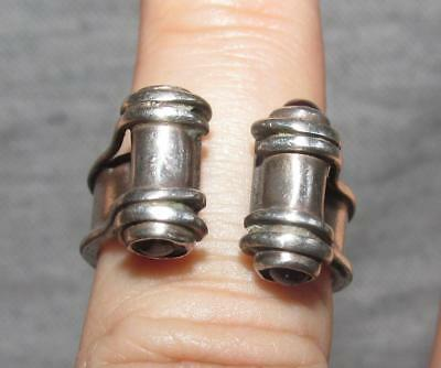 Vintage Silver 925 Ring  - Unusual Open Design With Stones