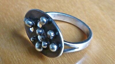 Sterling Silver Modernist Ring Unmarked