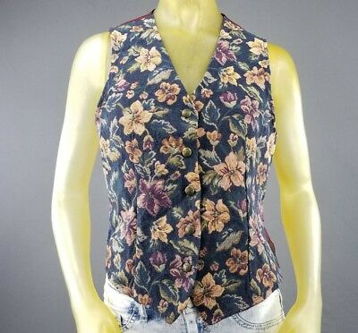 Vintage White Stag Floral Medium Vest Womens Sleeveless Fitted USA Made A3