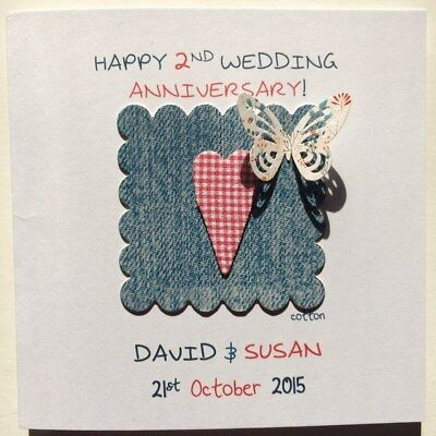 Personalised 2nd Cotton Wedding Anniversary Card Second Heart