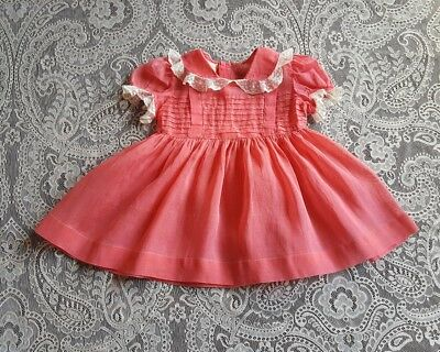 Vintage Baby Toddler Girl Coral Sheer Organdy Dress Childrens Clothes