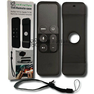 Remote Control Case Cover for Apple TV 4 Siri Remote. NIB. BLACK w/ lanyard.