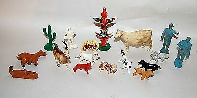 Vintage Lot Model Train Assorted Farm Animals People Figures