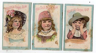 Lot Of 3 Heisel's Ideal Gum Victorian Trade Cards*little Girls With Pretty Hats