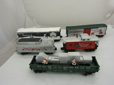 Lot of Five O Scale Christmas MTH Musical Train Cars w/o Engine As Is
