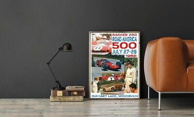 """Large Size 24""""x32"""" Road America 1968 Race Poster - Elkhart Lake Wisconsin"""