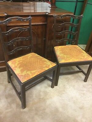 Pair Georgian Mahogany Ladder Back Style Dining Chairs