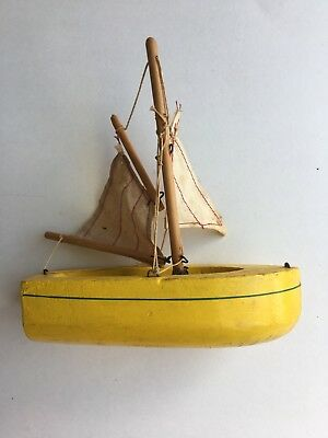 Tiny Yellow Birkenhead Star Yacht Pond Boat Ship Made in England