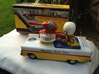 Vintage Nomura,Japan,Atomic Future Fire Car,Tin Plate,Litho,Battery Opp,Boxed.