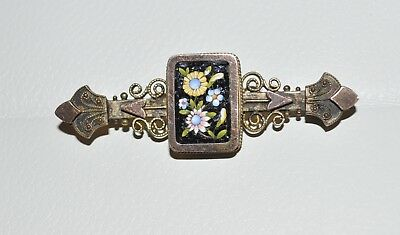 Amazing Antique Micro Mosaic Floral Brooch / Pin