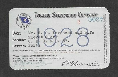 Pacific Steamship Company, Pass 1928. The Admiral Line