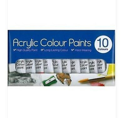 10 Mixed Acrylic Colour Paints Hard Wearing Long Lasting Painting Paint Tallon