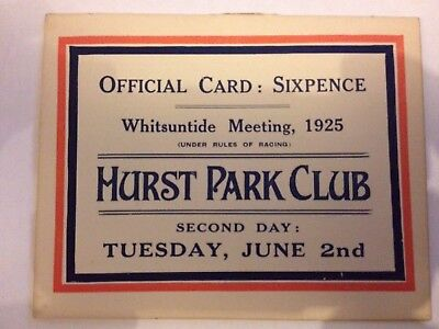 1925 Hurst Race Card