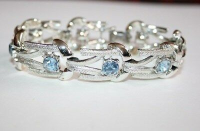 VINTAGE c1950s AQUAMARINE' CRYSTAL CHROME BRACELET by CORO