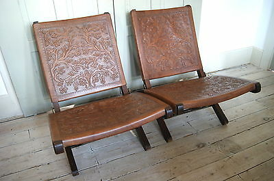Vintage Low Seat Peruvian Embossed Leather Folding Chairs