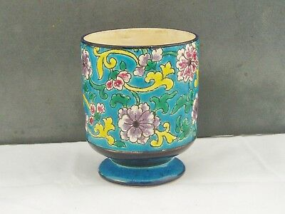 Longwy Pottery France Small Beaker Cup Emaux De Longwy Decoration