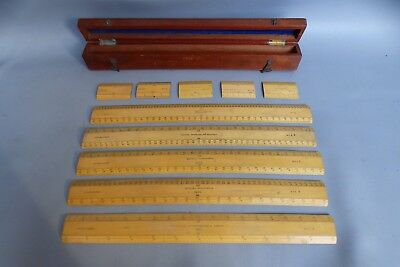A Case Of Engine Divided Rulers All Dated Between 1915-1918 With Crows Foot Mark