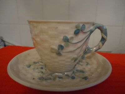 Rare Belleek first period cup and saucer Shamrock pattern fine