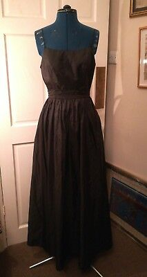 Halloween! Black glamorous vintage ballgown evening dress goth pagan S 8 10 12