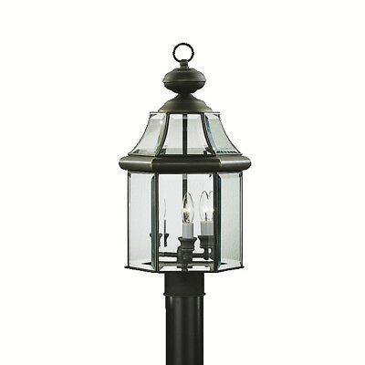 "Kichler Embassy Row 3-Light 20.75"" Outdoor Post Lantern in Olde Bronze"